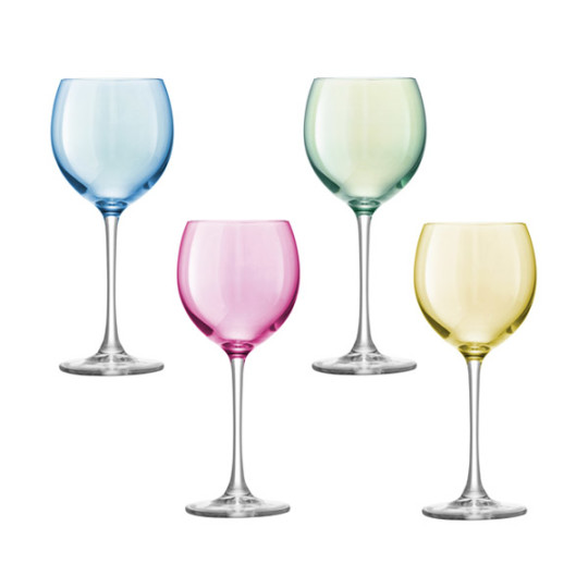 Image of Set of Four LSA Polka Wine Glasses